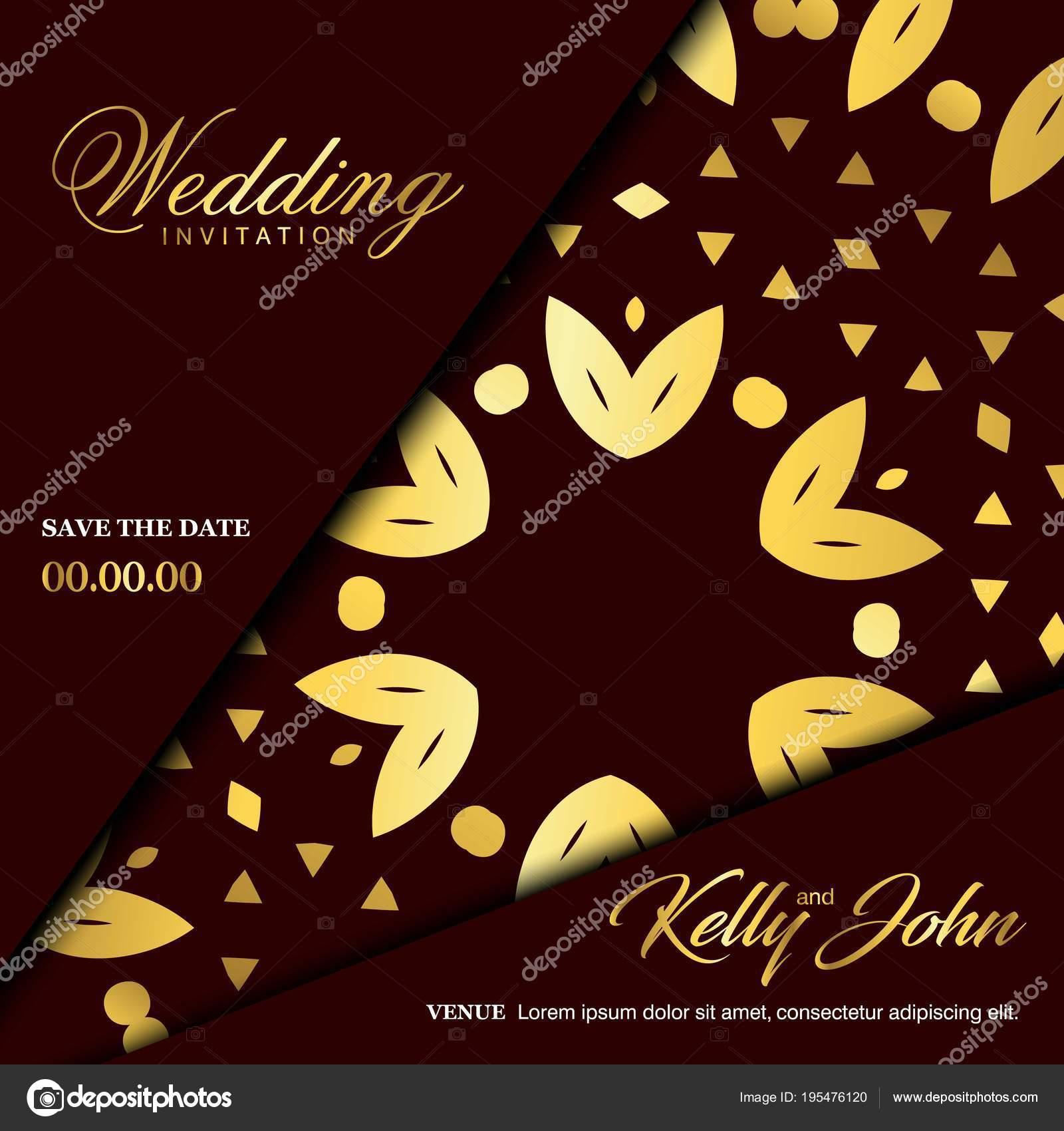 Wedding Ceremony Card Elegant Design Typography Brown Background