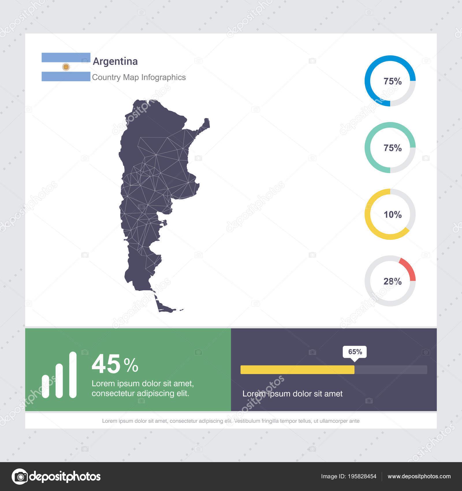 Mapa Bandera Argentina Infografía Diseño Vector Plantilla ...