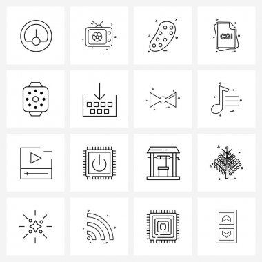 Stock Vector Icon Set of 16 Line Symbols for sun, smart watch, bacteria, chi, file type Vector Illustration