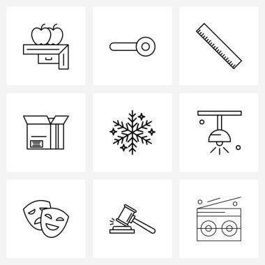 Set of 9 UI Icons and symbols for Christmas snowflake, Christmas, scale, pack, box Vector Illustration icon