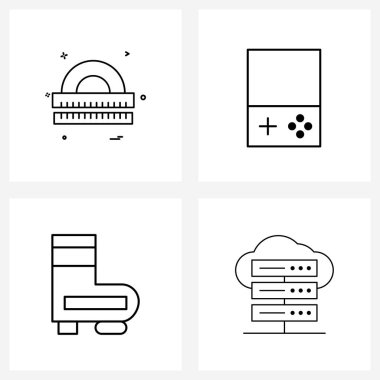Pack of 4 Universal Line Icons for Web Applications scale, analytics, math's, fire fighter, big data analytics Vector Illustration icon