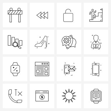 Pack of 16 Universal Line Icons for Web Applications sandal, business, locked, graph, career Vector Illustration icon