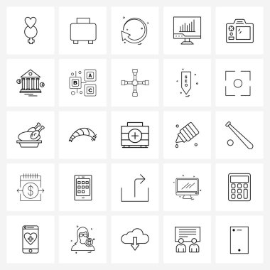 25 Universal Icons Pixel Perfect Symbols of camera, graph, direction, chart, analytics Vector Illustration