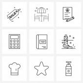 Set of 9 Modern Line ikonok tanulmány, oktatás, cv, könyv, számítások Vektor illusztráció