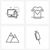 Set of 4 Modern Line ikonok akkumulátor, dombok, technológia, adomány, táj vektor illusztráció
