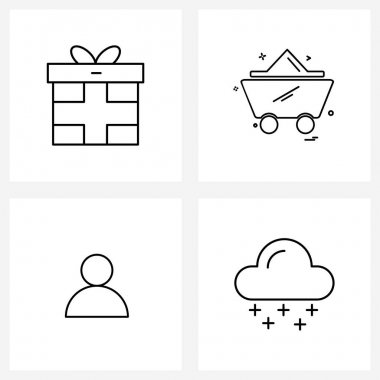 Pack of 4 Universal Line Icons for Web Applications gift box; user; surprise; transport; weather Vector Illustration icon