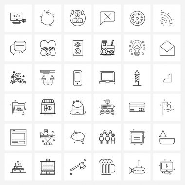Pack of 36 Universal Line Icons for Web Applications circle, gear, dollar man, cross, chat Vector Illustration icon