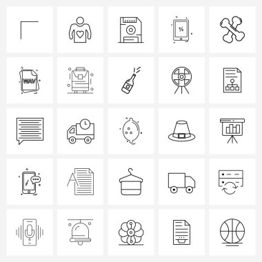 Pack of 25 Universal Line Icons for Web Applications plus, percent, file, percentage, smart phone Vector Illustration icon