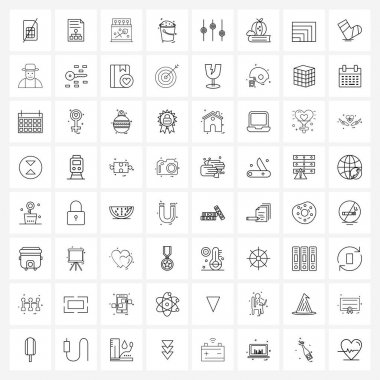 Pack of 64 Universal Line Icons for Web Applications apple, machine, box, audio, equalizer Vector Illustration icon
