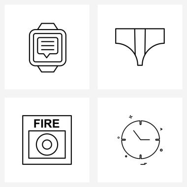 Pack of 4 Universal Line Icons for Web Applications message, fire, talk, garments, fire fighter Vector Illustration icon