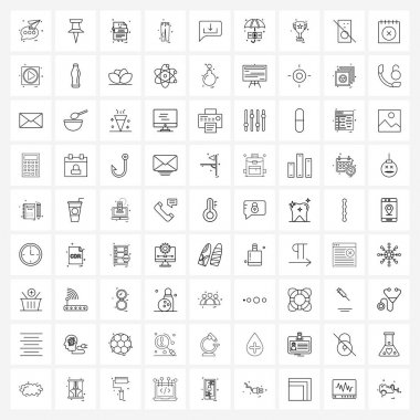 Stock Vector Icon Set of 81 Line Symbols for cloths, pants, file, document Vector Illustration