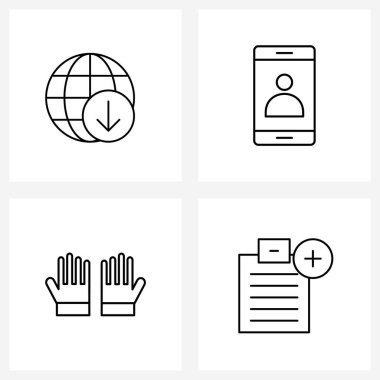 Pack of 4 Universal Line Icons for Web Applications arrow; fire; network; smart phone; hand Vector Illustration icon