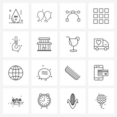 Pack of 16 Universal Line Icons for Web Applications hook, structure, commas, interface, arrow Vector Illustration icon