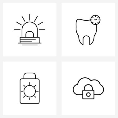 Pack of 4 Universal Line Icons for Web Applications alarm; beach; fire; dentistry; lotion Vector Illustration icon