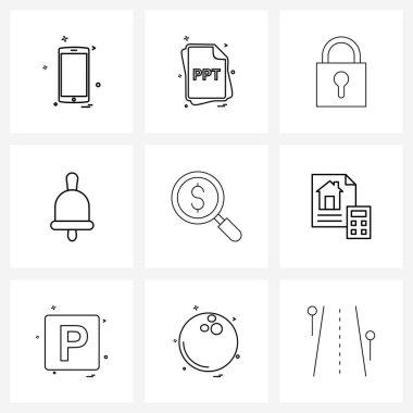 UI Set of 9 Basic Line Icons of market, advice, ppt, school, bell Vector Illustration