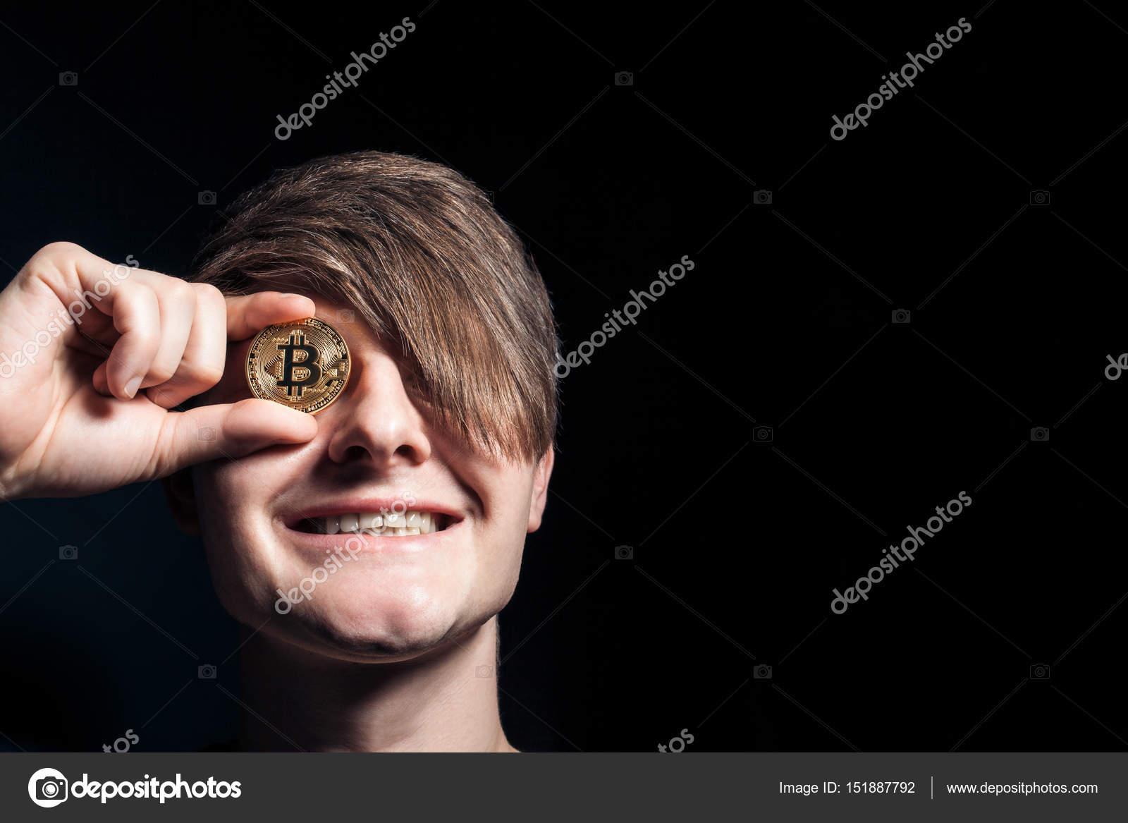 Verrückte Bitcoin Liebhaber Mit Goldenen Münze Von Augen