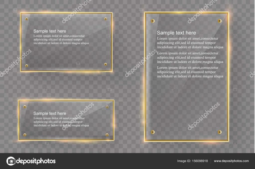Conjunto con marco metálico oro brillante sobre fondo transparente ...