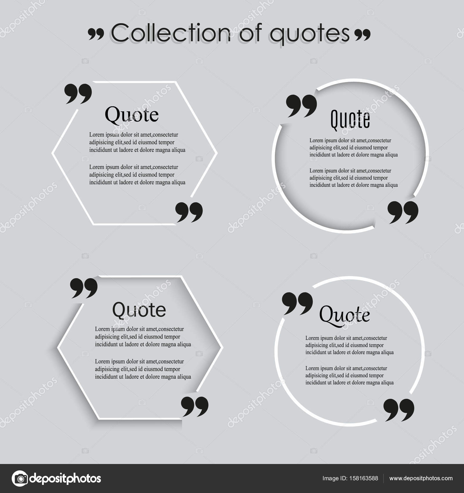 Quote blank template. Vector eps 10 set. Empty quote bubble. Quote ...