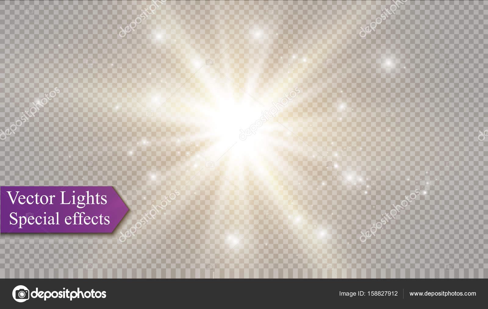 星光の効果透明な背景のベクトル イラスト輝くバーストします