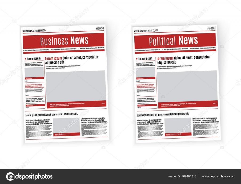 Plantilla de diseño de periódico con titular rojo, imágenes y ...