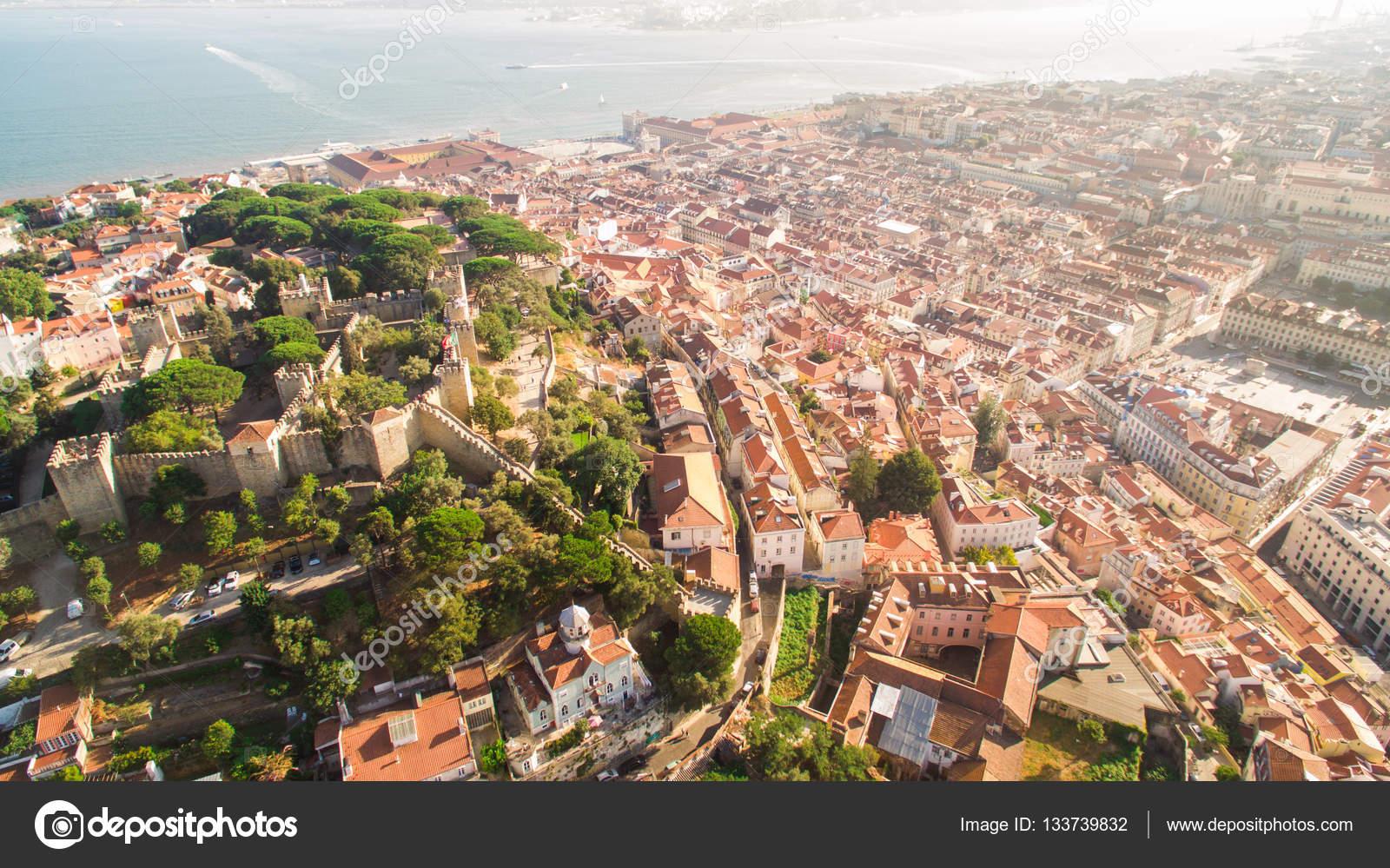 Lissabon Fluss schloss george und tagus fluss lissabon blick oben
