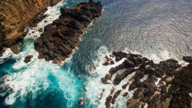 Cliffs near Porto Moniz Madeira Portugal aerial view
