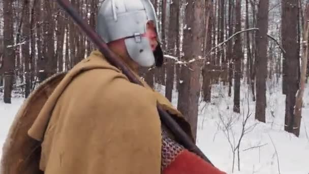 Medieval irish warriors in armor walking in a winter forest with spear and shield