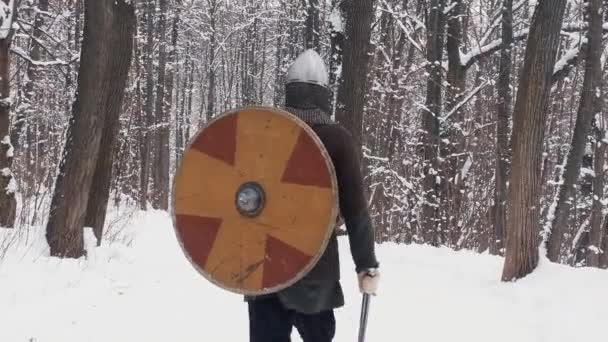 Medieval viking warriors in armor walking in a winter forest with sword and shield