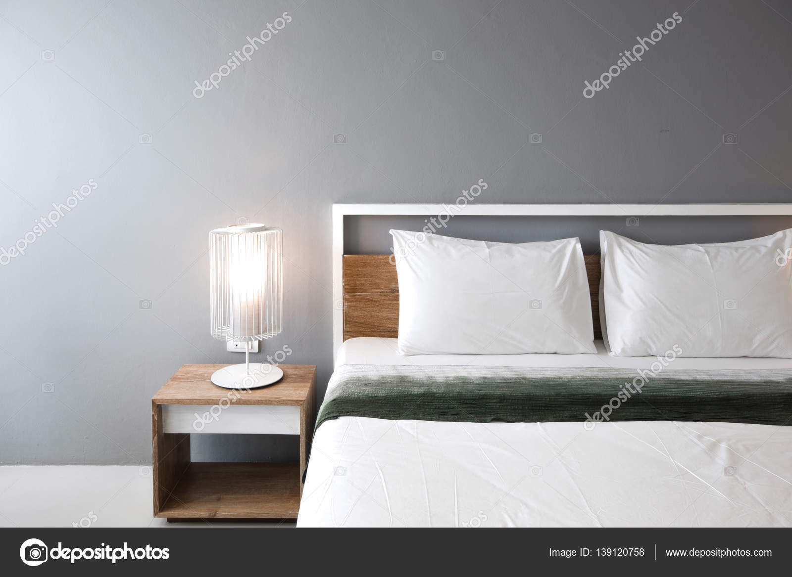 Design moderno camera da letto, letto matrimoniale — Foto Stock ...