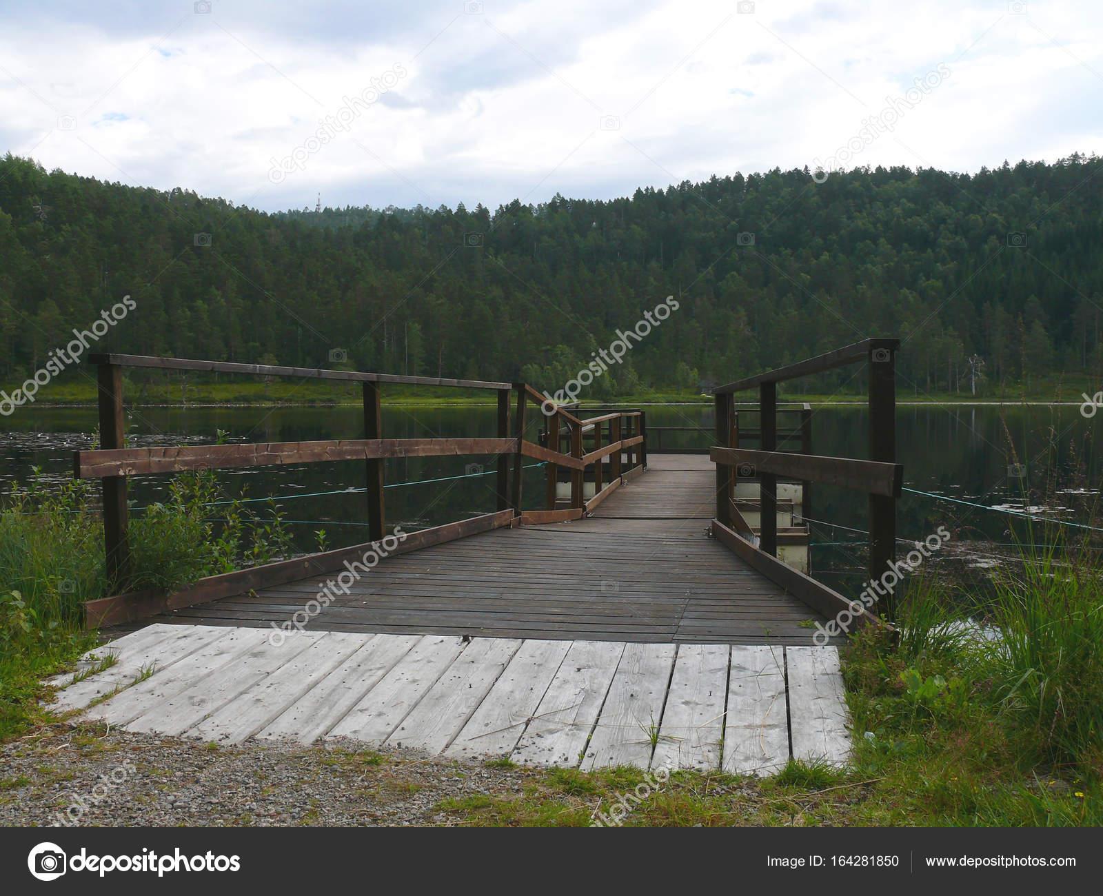 Norvegia bosco stagno e piccolo molo foto stock for Piccolo stagno