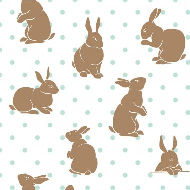 Rabbit pattern brown and blue