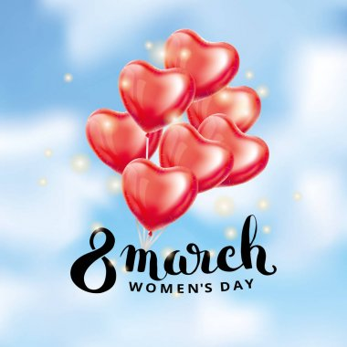 Heart red balloon 8 march