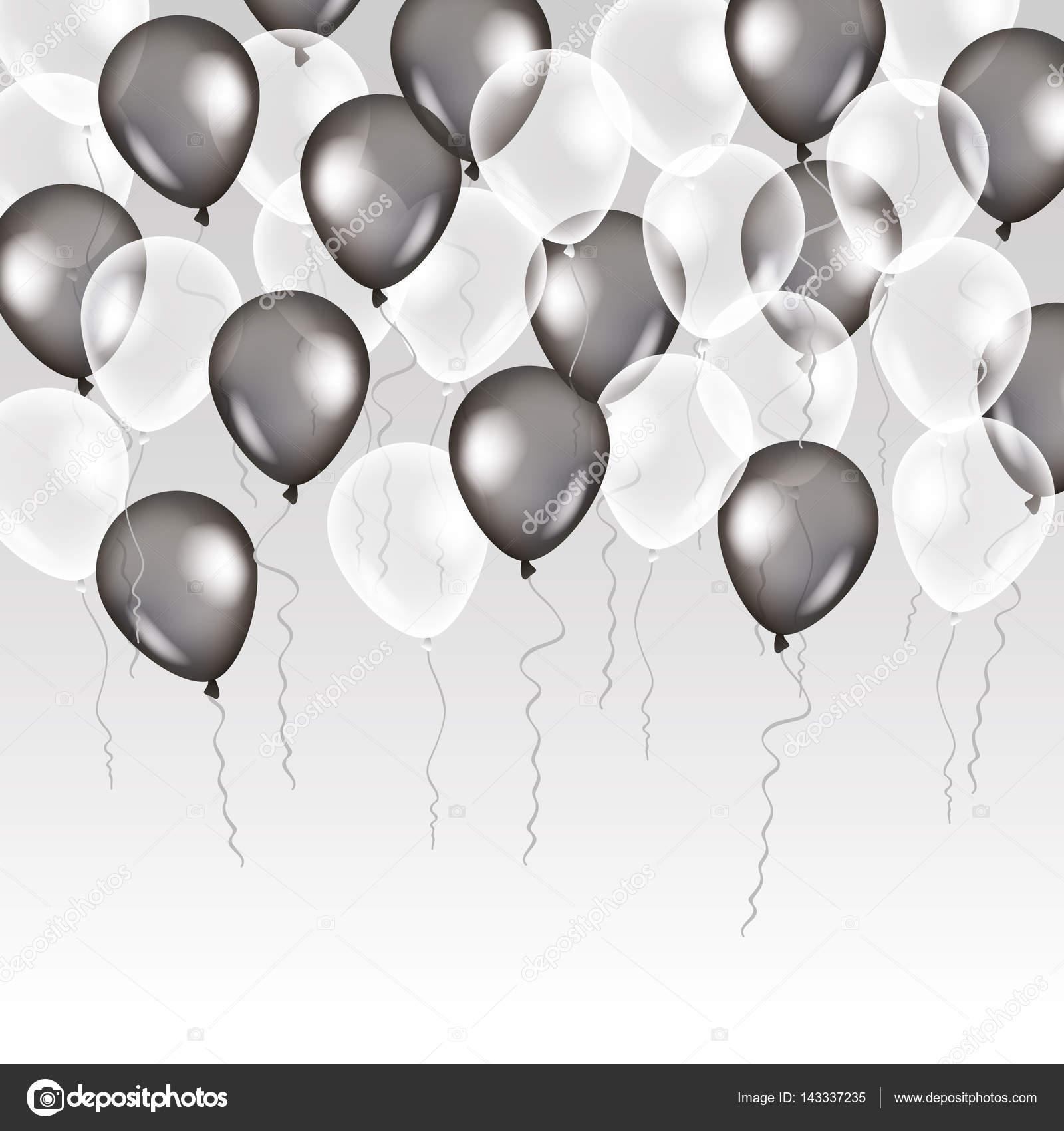 schwarz weiß transparent ballon auf hintergrund — stockvektor