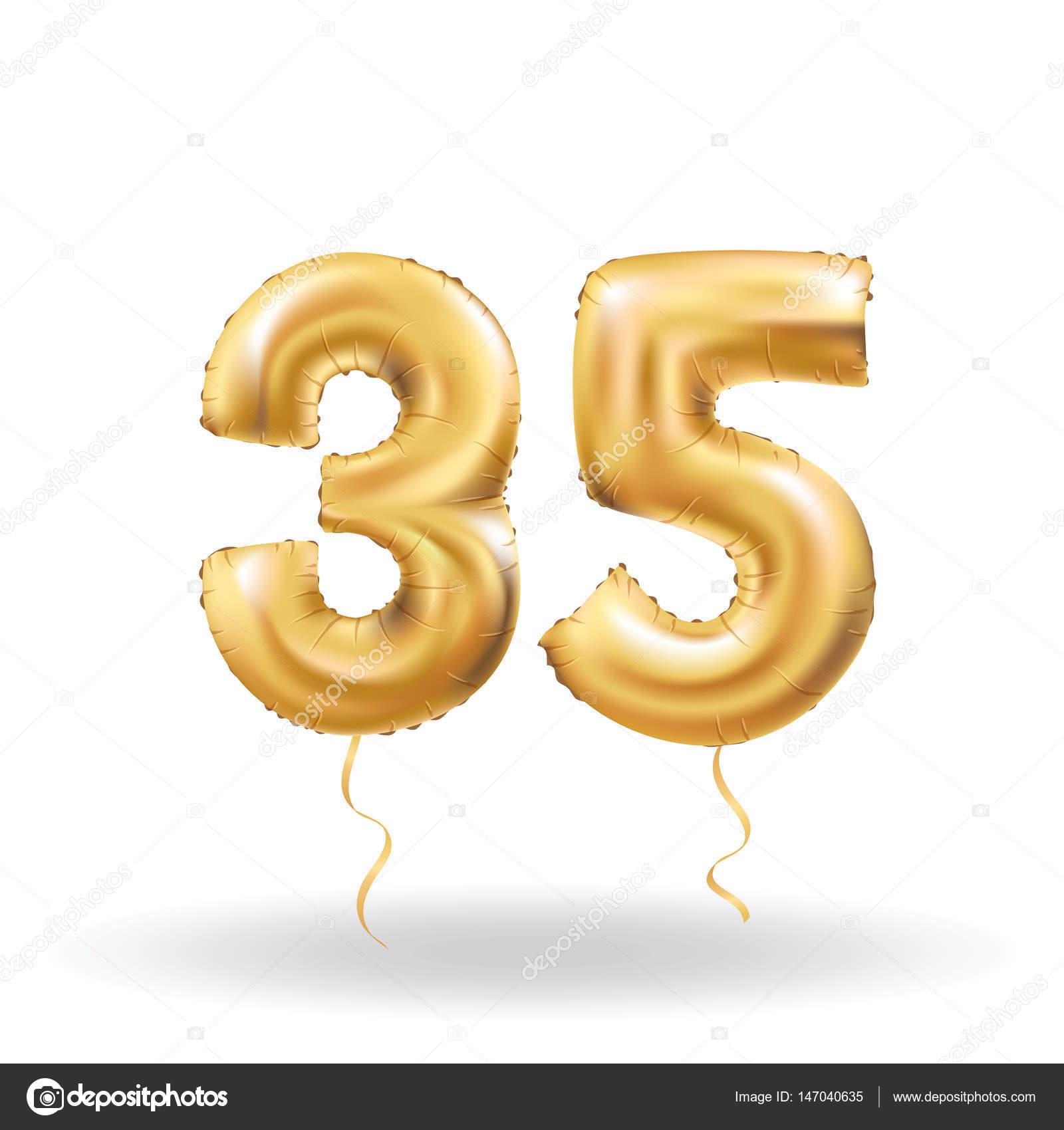 Number Thirty Five Metallic Balloon Stock Vector Pirinairina Baloon