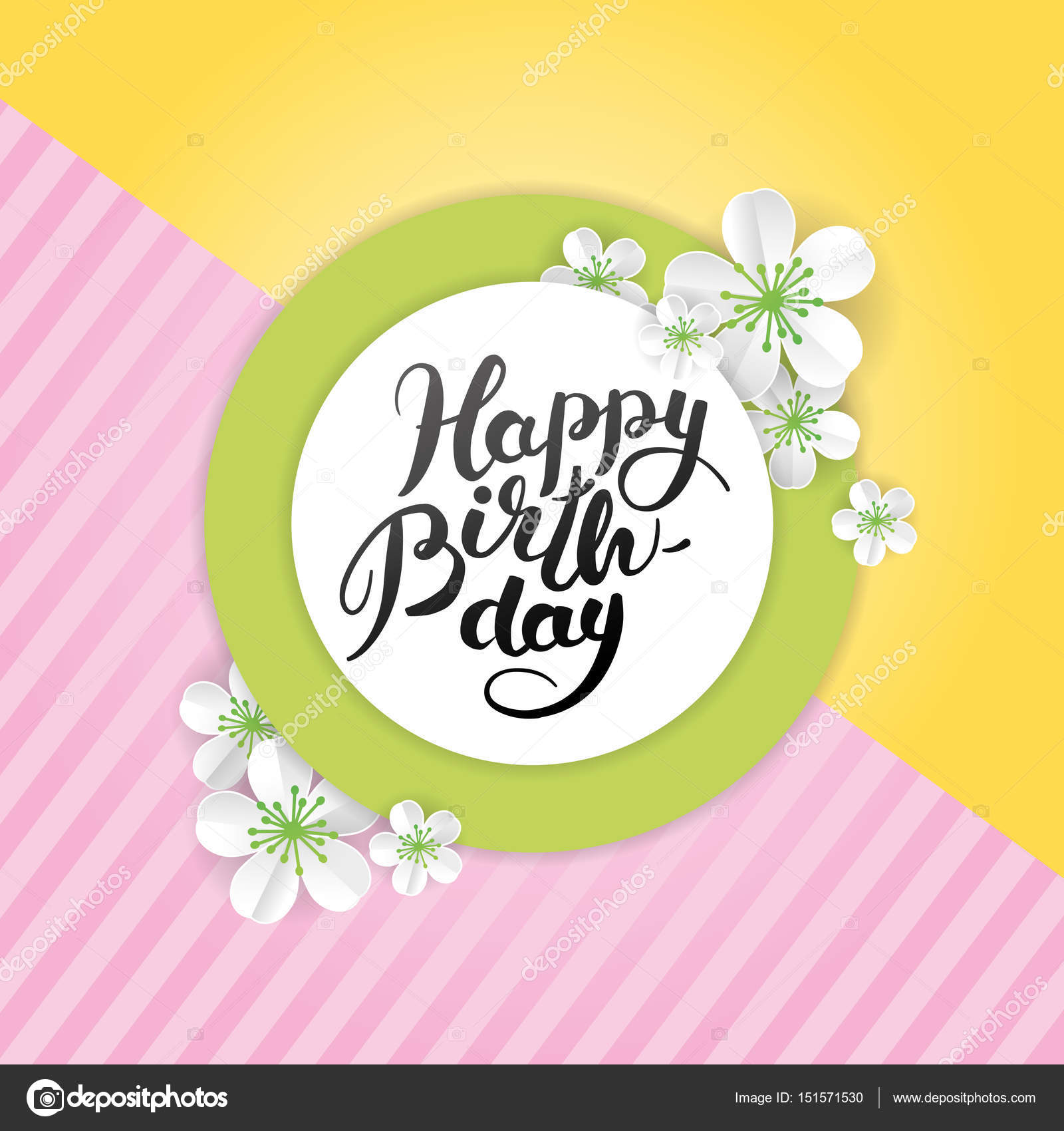Happy Birthday Sakura Flower Stock Vector Pirinairina 151571530