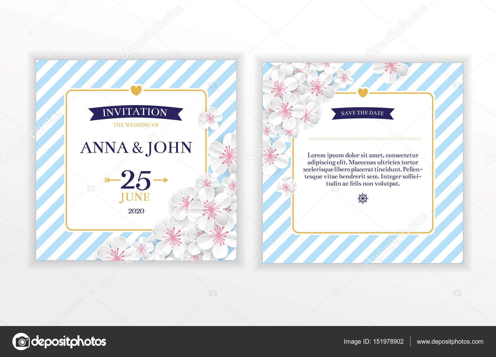 Marine nautical flower wedding invitation stock vector marine nautical wedding invitation anchor stripes and rope wedding invitation card template for celebration party save the date you are invited pronofoot35fo Images