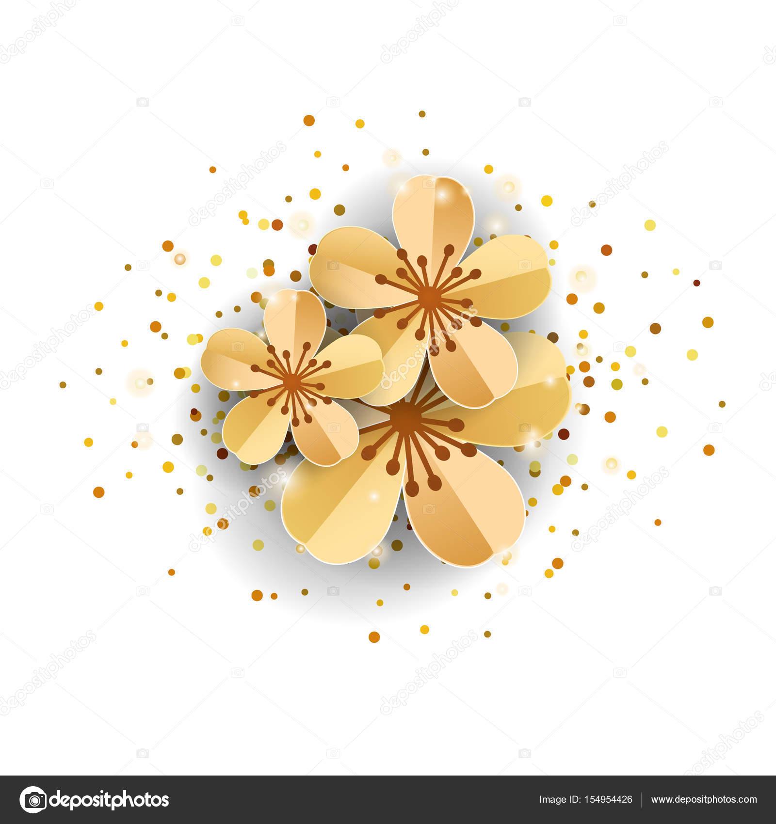 Gold Sakura Flowers On White Stock Photo Pirinairina 154954426
