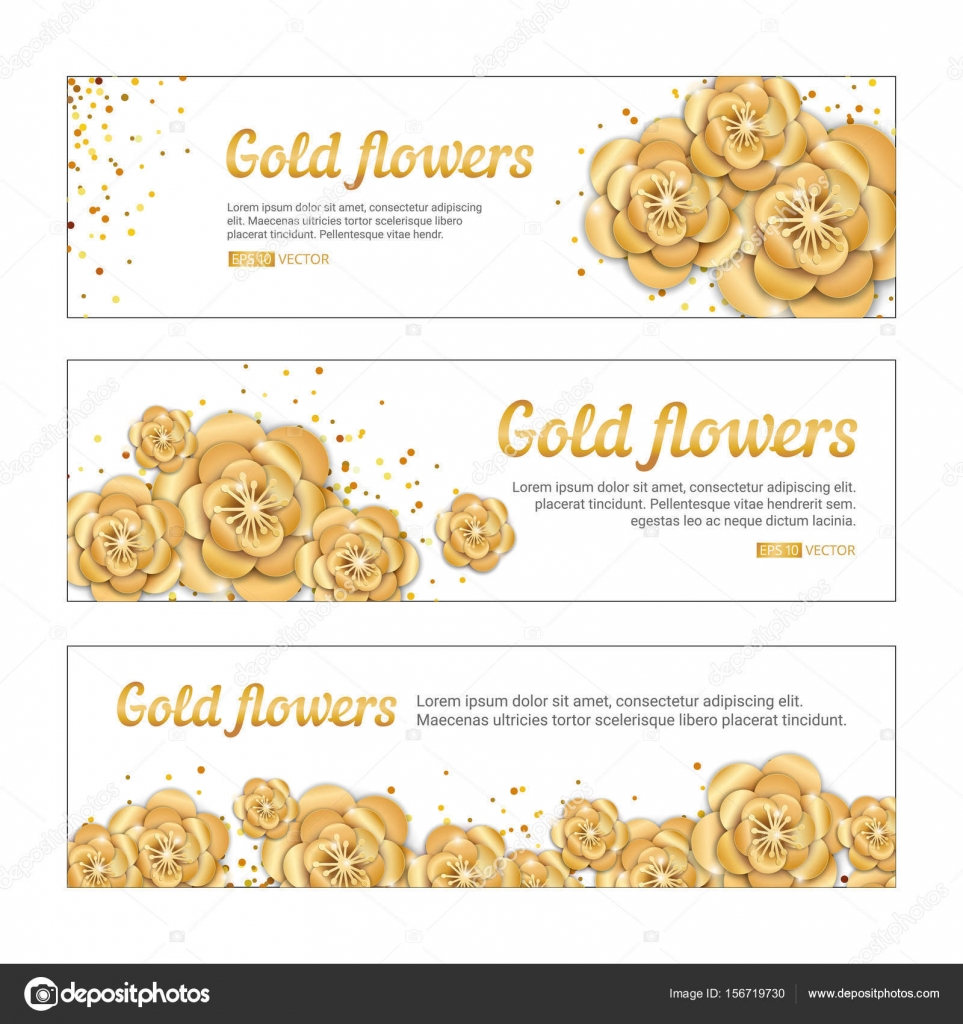 Gold lotus flower banner stock vector pirinairina 156719730 gold lotus flower banner spring flower golden banners background paper art flowers template for banners birthday wedding invitation party event mightylinksfo