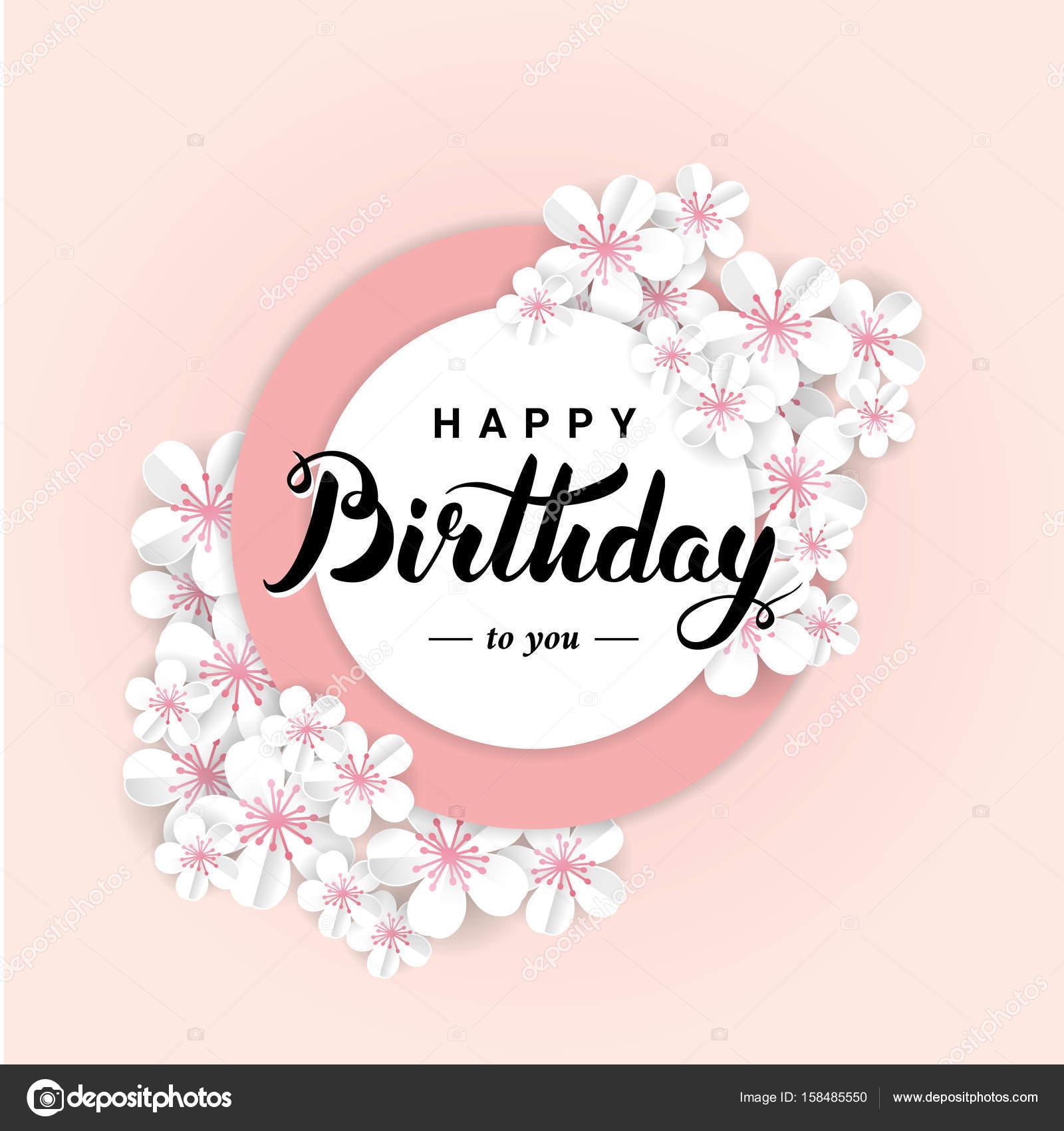 Gelukkige Verjaardag Sakura Bloem Stockfoto C Pirinairina 158485550