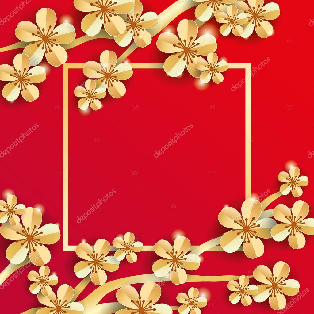 gold red sakura flower banner