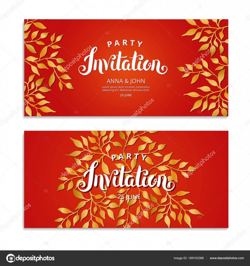 Gold Autumn red invitation — Stock Vector © PirinaIrina #169103366