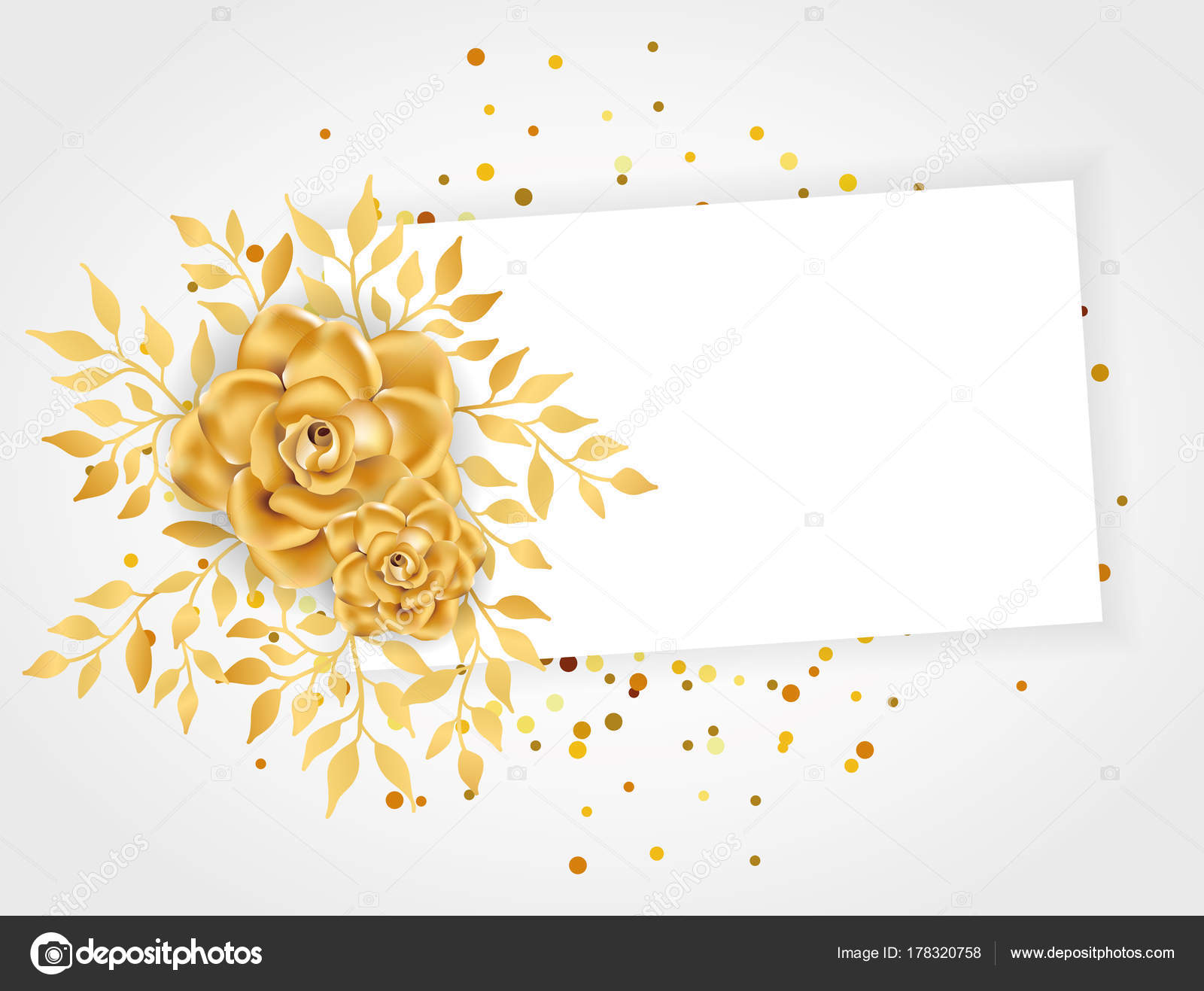 Invitación Floral Línea Oro Marco Flores Color Dorado Para
