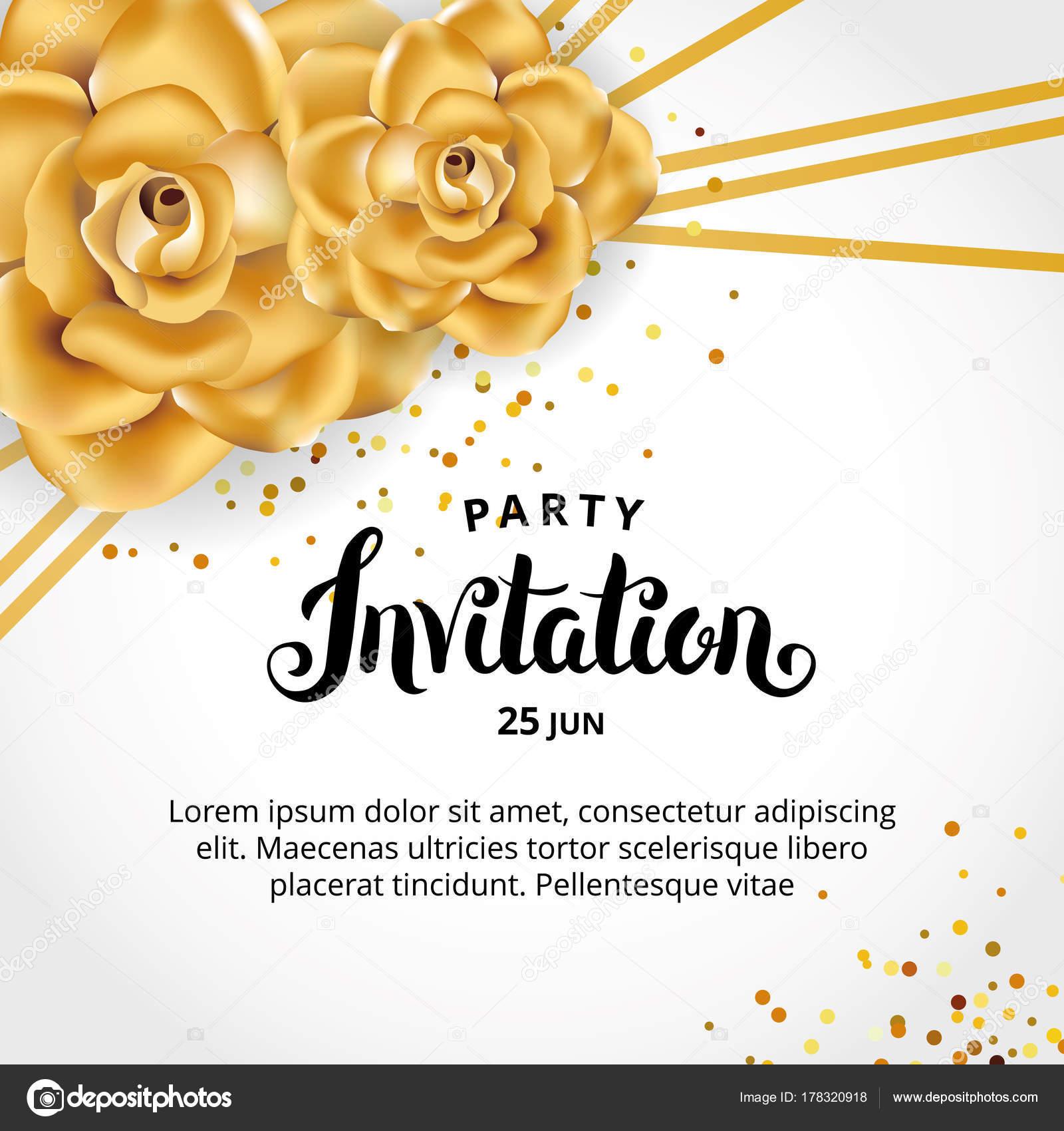 Invitación Floral Línea Oro Marco Flores Color Dorado Para ...
