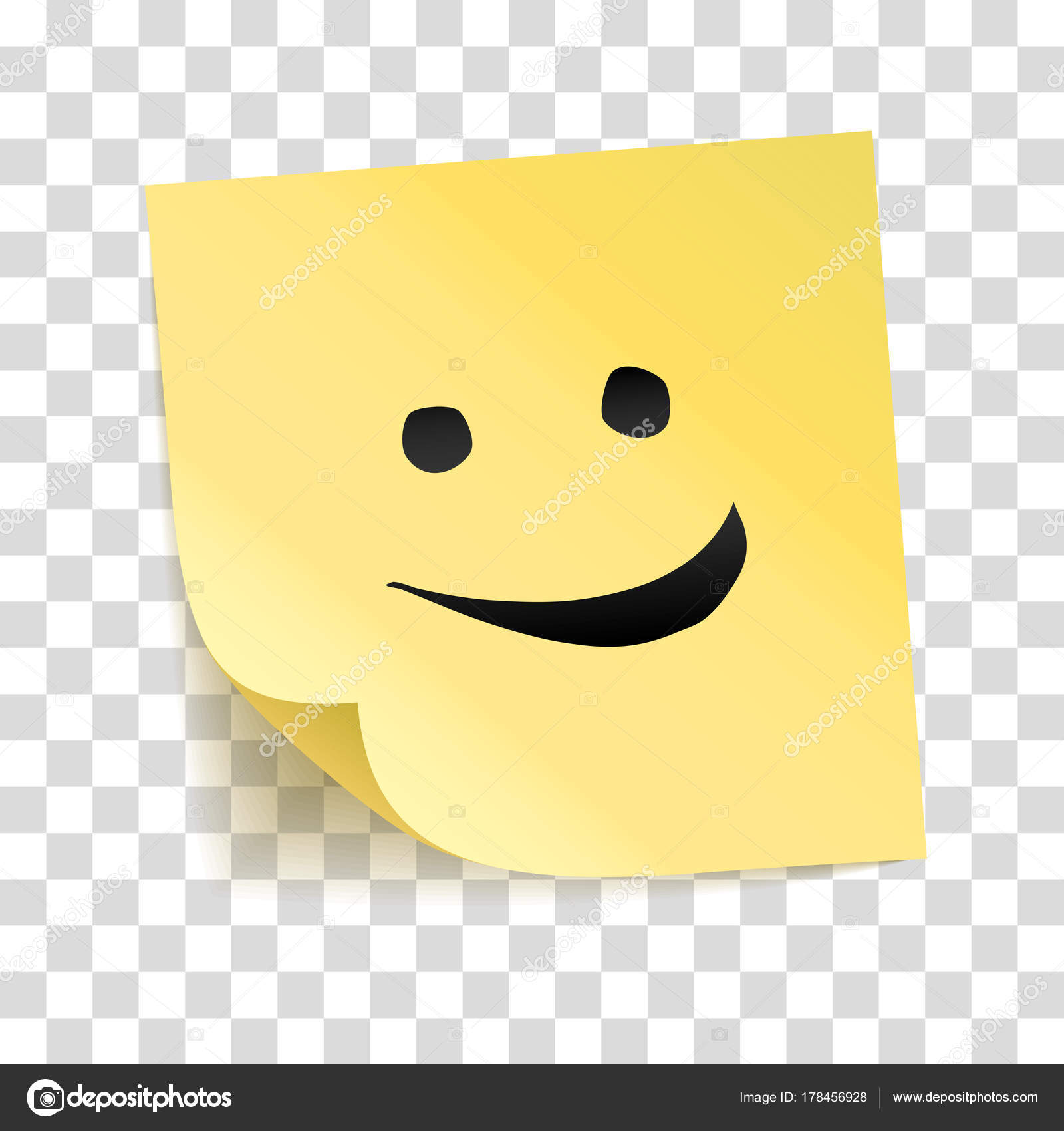 Note yellow sticker smile vector stick transparent background smiling happy stock vector