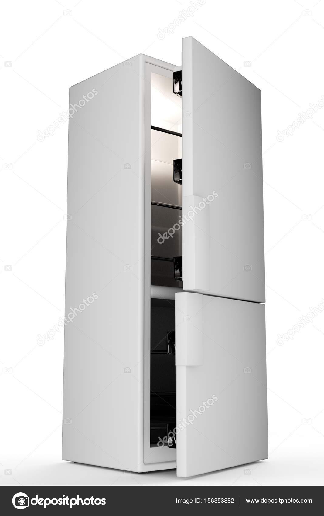 grosser Kühlschrank isoliert auf weiss — Stockfoto © r.vladimir.t ...