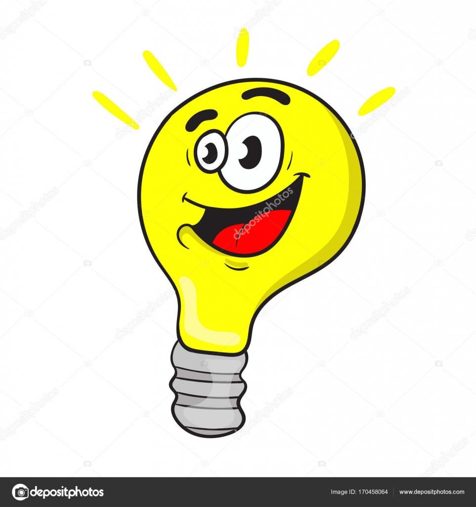 Simpatico cartone animato carattere una lampadina