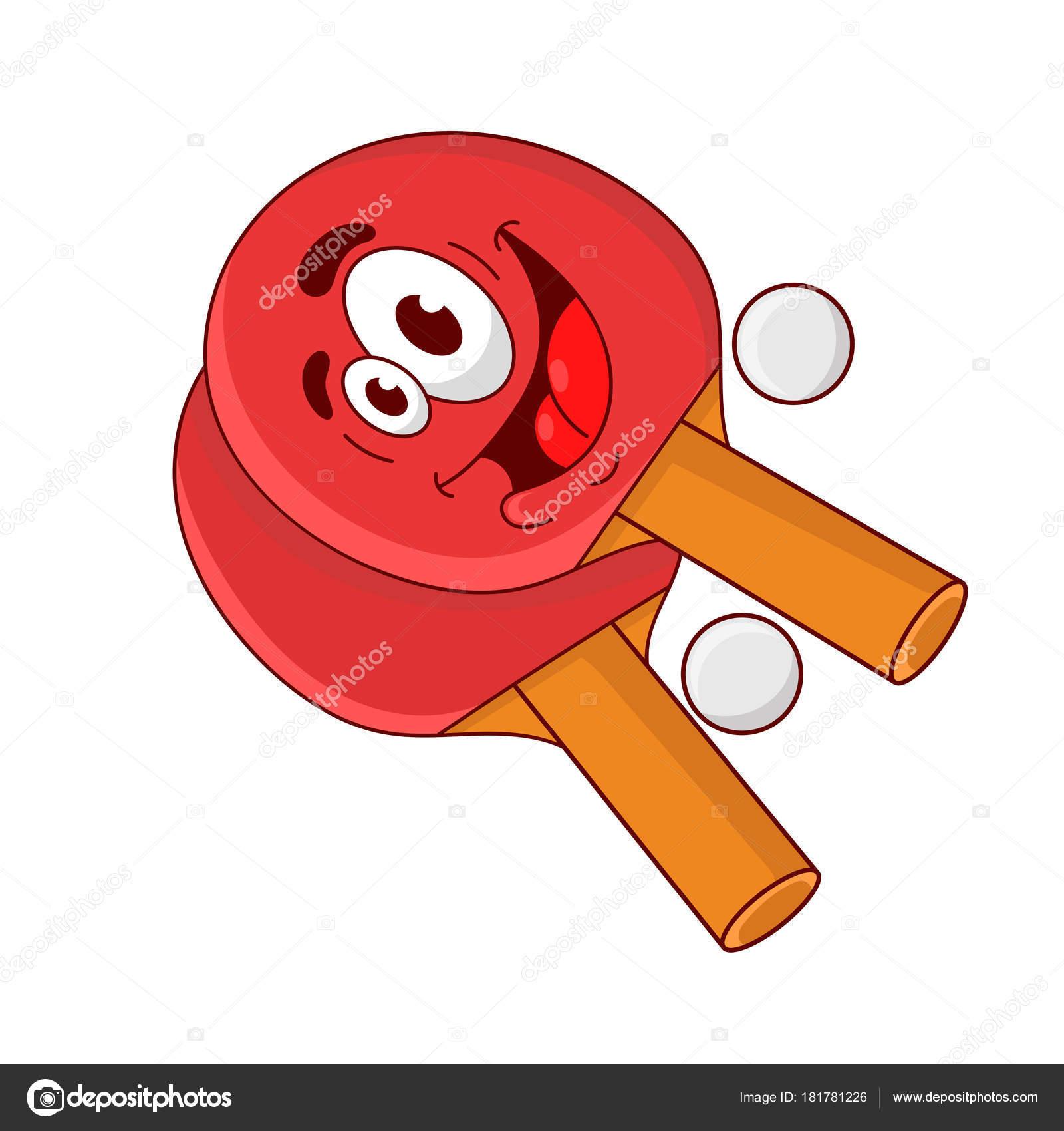 Boule de dessin anim dr le deux raquette tennis de table - Dessin tennis de table ...