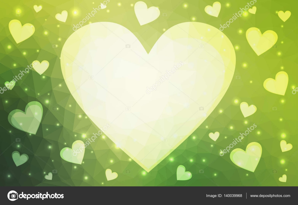 Light Green Vector Love Background With Heart Stock Vector