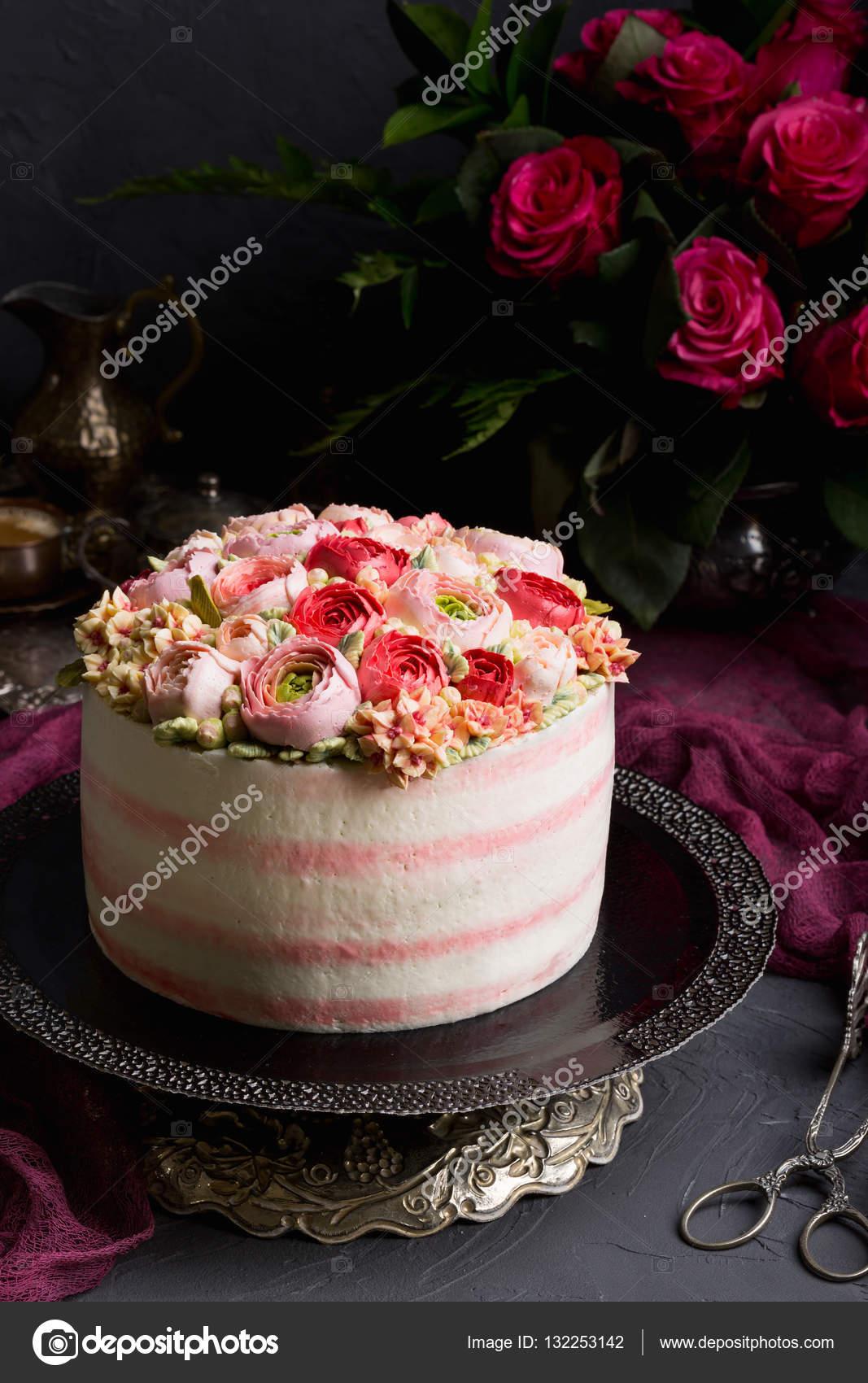 Birthday Cake With Cream Beautiful Cream Roses Stock Photo
