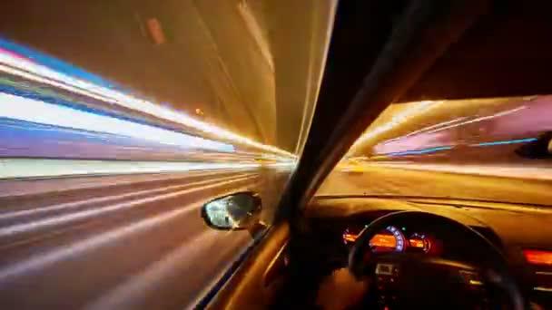 Timelapse video auto v noční město